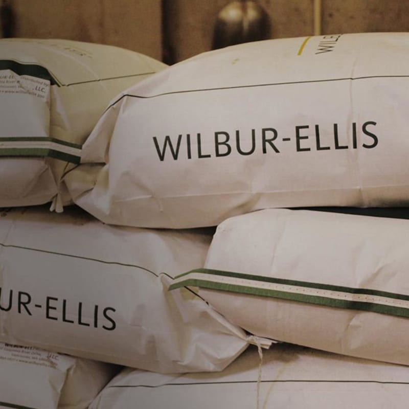 Bags of animal nutrition supplies.