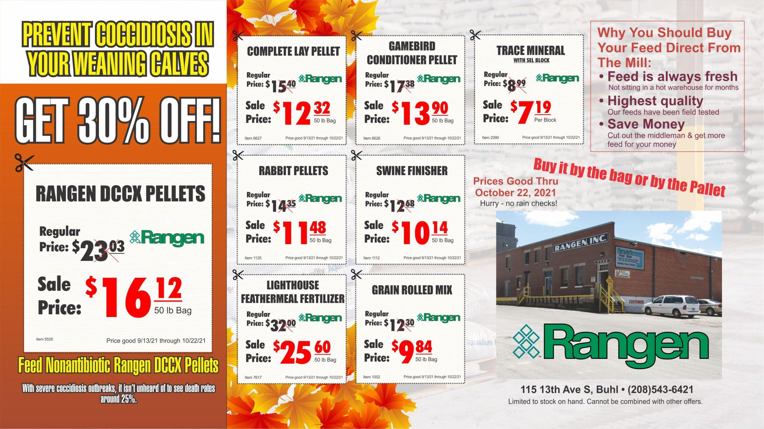 Rangen Fall Feed Sale
